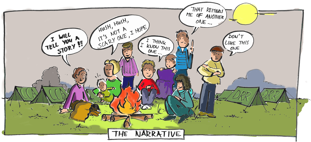 Illustration of value of narratives by Bertram de Rooij