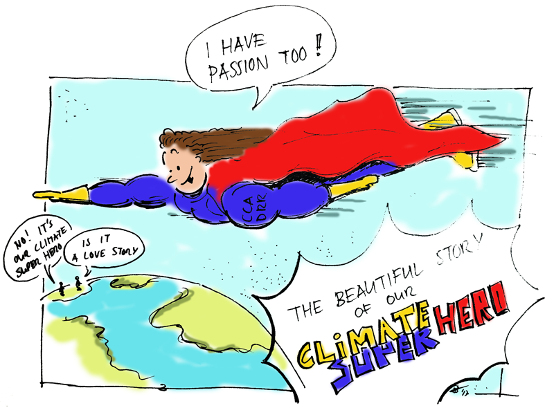Climate superhero illustration by Bertram de Rooij