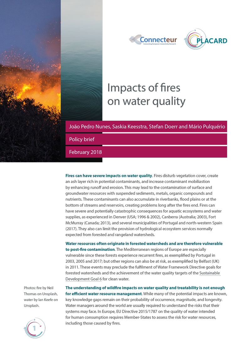Impacts of fires on water quality cover