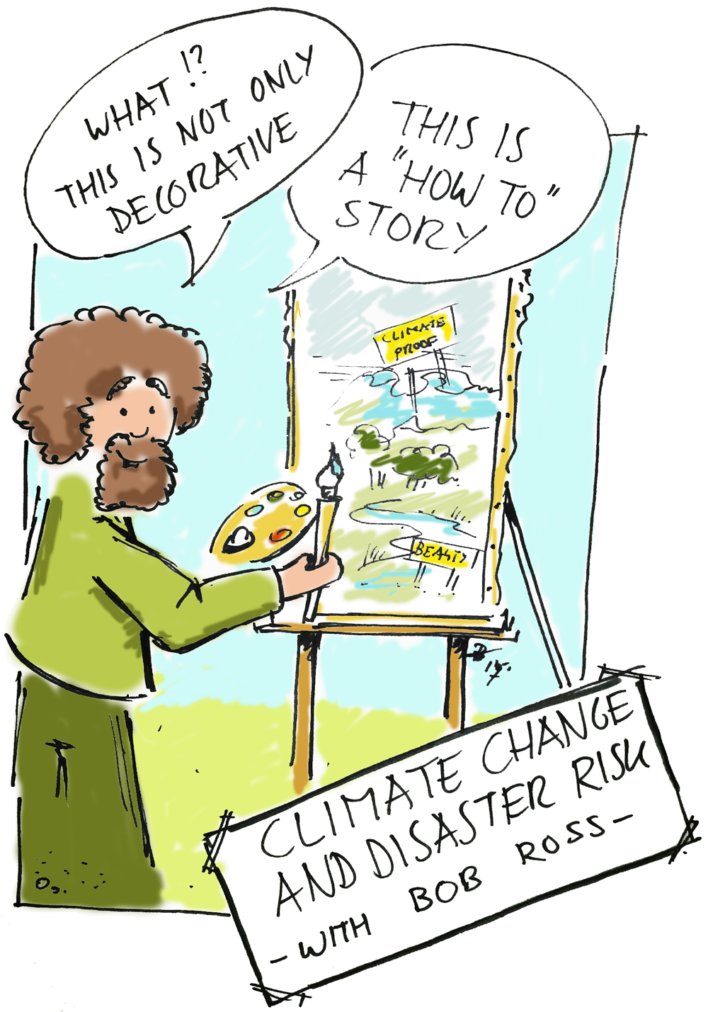 Illustration of painter creating a story on his easel