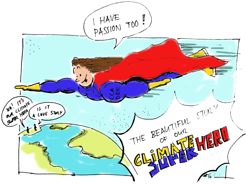 Illustration showing a climate superhero speeding to rescue the planet
