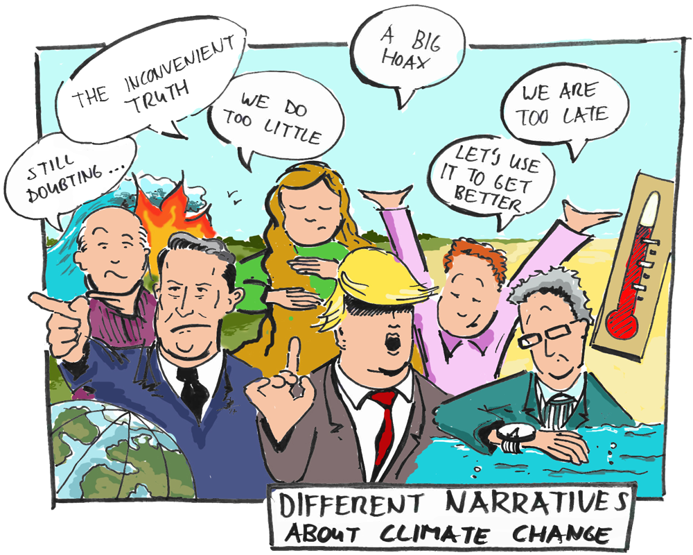 Illustration showing many people with very different opinions about climate change