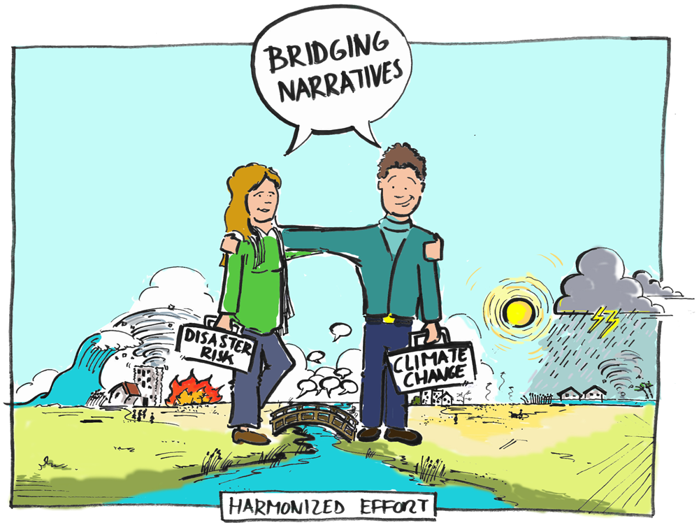 Illustration showing people bridging their differences
