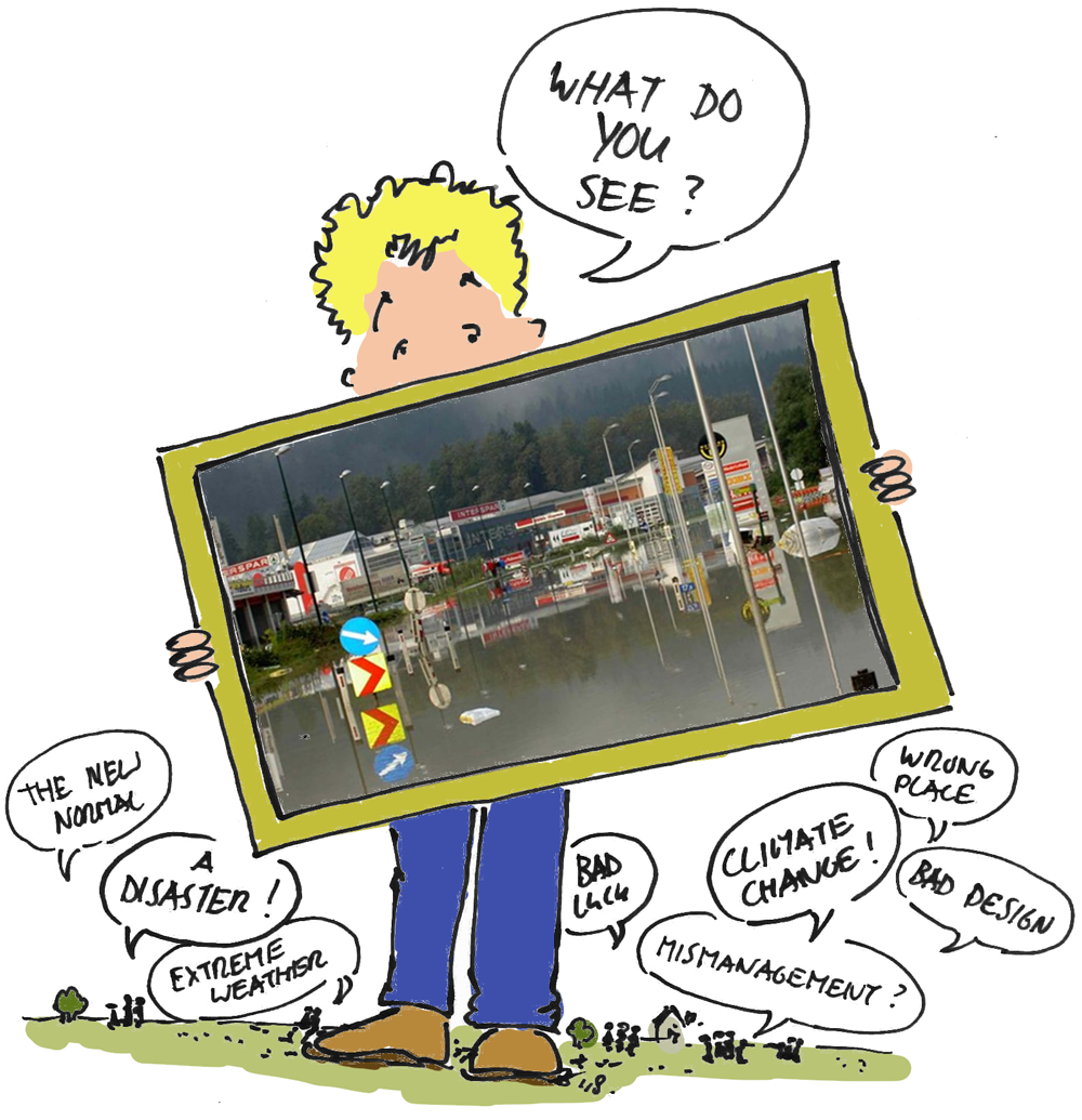 Illustration a person holding an image of a serious flood with comments from other people
